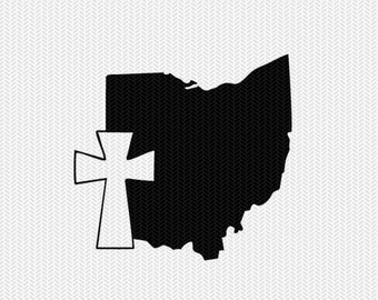 ohio cross svg dxf file stencil state cut file silhouette cameo cricut download clip art commercial use
