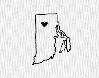 rhode island outline heart svg dxf file stencil silhouette cameo cricut downloads clip art commercial use