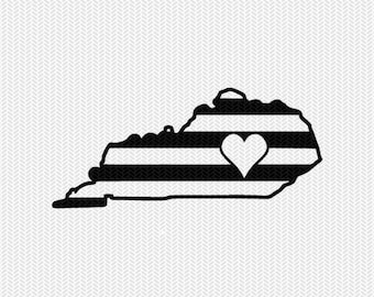 kentucky stripes heart svg dxf file download stencil silhouette cameo cricut downloads cut file downloads clip art commercial use