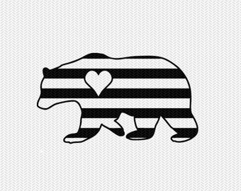 bear stripes heart svg dxf file instant download stencil silhouette cameo cricut downloads clip art commercial use