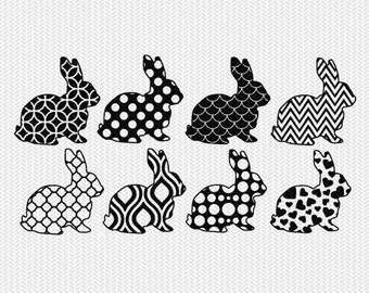 bunnies easter pattern set svg dxf file instant download silhouette cameo cricut downloads clip art commercial use