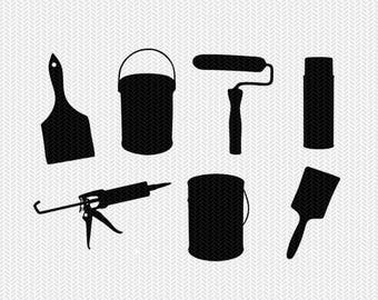 painting tools svg dxf file stencil monogram frame silhouette cameo cricut clip art commercial use