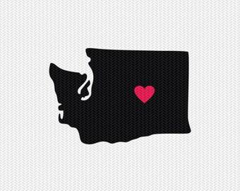 washington heart svg dxf file stencil silhouette cameo cricut clip art commercial use