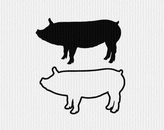 pig outline svg dxf file stencil frame silhouette cameo cricut clip art commercial use