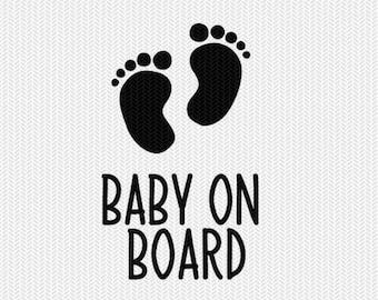 baby on board svg dxf file stencil silhouette cameo cricut commercial use cricut downloads