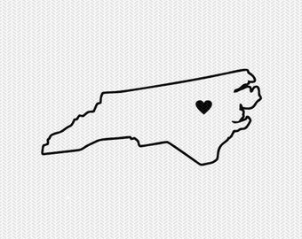 north carolina outline heart svg dxf file stencil silhouette cameo cricut clip art commercial use