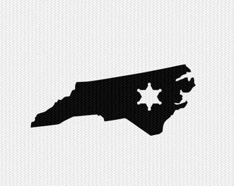 north carolina sheriff svg dxf file stencil instant download silhouette cameo cricut downloads clip art sheriff state svg dxf file