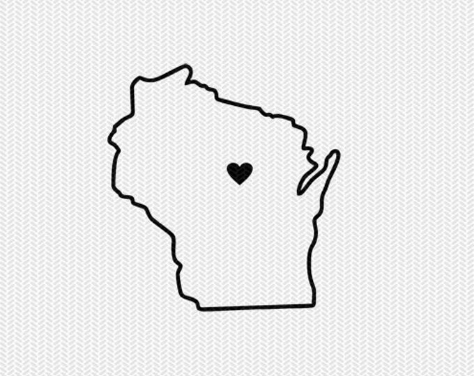 wisconsin outline heart svg dxf file stencil silhouette cameo cricut clip art commercial use