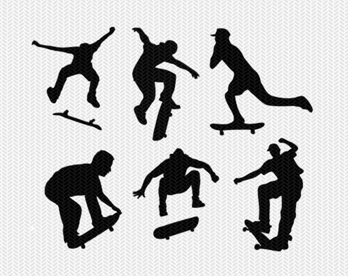 skateboarding svg dxf jpeg png file instant download stencil silhouette cameo cricut downloads clip art commercial use