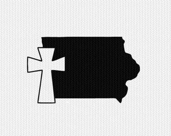 Iowa cross svg dxf file stencil state cut file silhouette cameo cricut download clip art commercial use