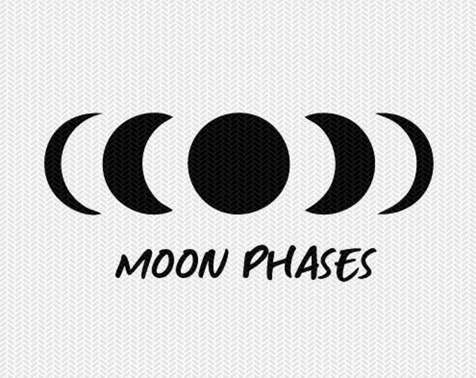 moon phases svg dxf file instant download silhouette cameo cricut clip art commercial use