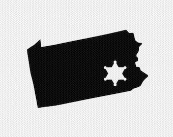 pennsylvania sheriff svg dxf file stencil instant download silhouette cameo cricut downloads clip art sheriff state svg dxf file