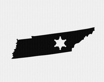 tennessee sheriff svg dxf file stencil instant download silhouette cameo cricut downloads clip art sheriff state svg dxf file