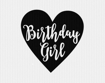 birthday girl svg dxf cut file instant download silhouette cameo cricut download clip art commercial use
