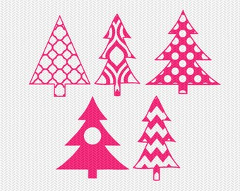 christmas tree pattern monogram frame svg dxf file instant download stencil silhouette cameo cricut clip art commercial use