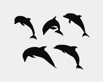 dolphins svg dxf jpeg png file instant download stencil silhouette cameo cricut downloads clip art commercial use