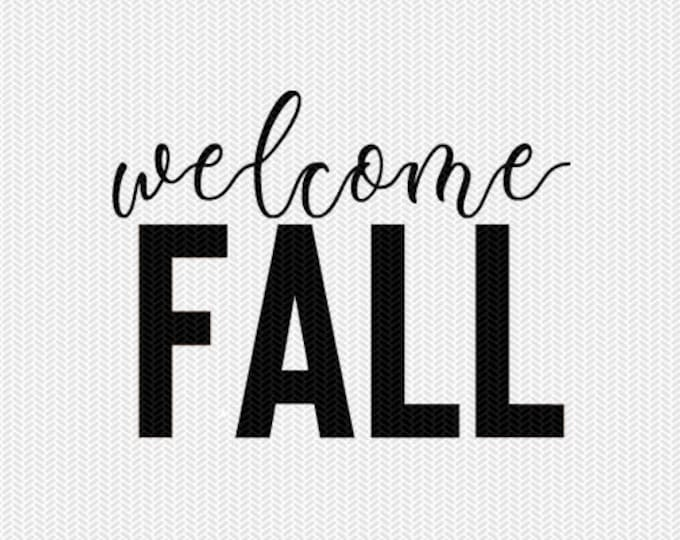 welcome fall svg dxf file instant download silhouette cameo cricut download clip art commercial use
