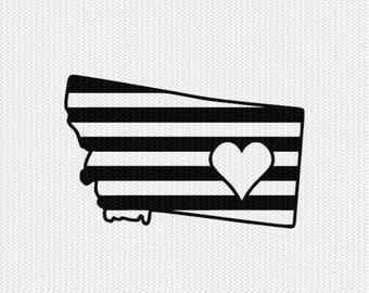 montana stripes heart svg dxf file download stencil silhouette cameo cricut downloads cut file downloads clip art commercial use