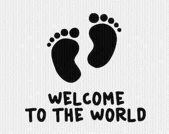 welcome to the world svg dxf file  stencil silhouette cameo cricut commercial use cricut downloads