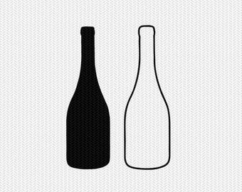 wine bottle outline svg dxf file stencil frame silhouette cameo cricut clip art commercial use