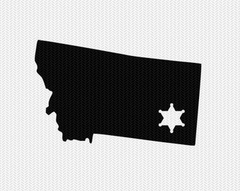 montana sheriff svg dxf file stencil instant download silhouette cameo cricut downloads clip art sheriff state svg dxf file