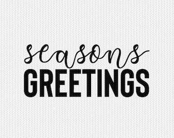seasons greetings svg dxf file instant download silhouette cameo cricut clip art commercial use