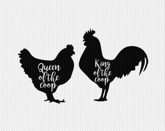 king and queen of the coop chicken farm set svg dxf file instant download stencil silhouette cameo cricut clip art animals commercial use