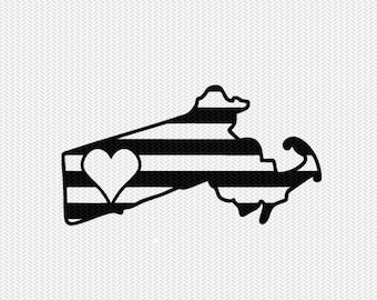 massachusetts stripes heart svg dxf file download stencil silhouette cameo cricut downloads cut file downloads clip art commercial use