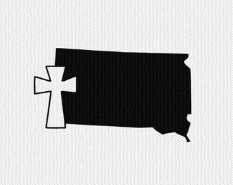 south dakota cross svg dxf file stencil state cut file silhouette cameo cricut download clip art commercial use