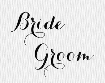 bride groom wedding svg dxf jpeg png file stencil monogram frame silhouette cameo cricut downloads clip art commercial use