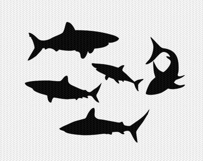 sharks stencil svg dxf file instant download monogram frame silhouette cameo cricut clip art commercial use