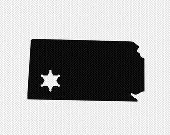 kansas sheriff svg dxf file stencil instant download silhouette cameo cricut downloads clip art sheriff state svg dxf file
