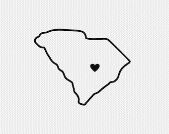 south carolina outline heart svg dxf file stencil silhouette cameo cricut clip art commercial use