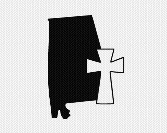 alabama cross svg dxf file stencil state cut file silhouette cameo cricut download clip art commercial use