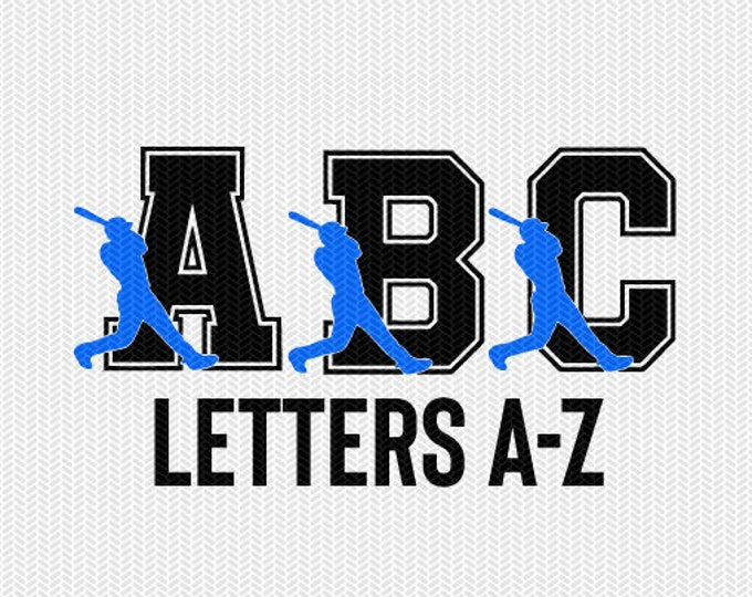 baseball letters set monogram silhouette stencil svg dxf file instant download silhouette cameo cricut downloads clip art commercial use