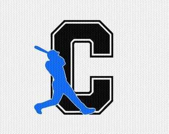 baseball C decal monogram silhouette stencil svg dxf file instant download silhouette cameo cricut downloads clip art commercial use