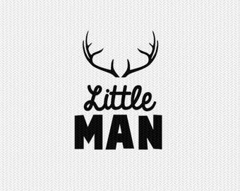 little man deer antlers svg dxf file instant download silhouette cameo cricut clip art commercial use