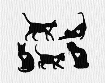 cat hearts svg dxf file instant download stencil silhouette cameo cricut clip art pet animals commercial use