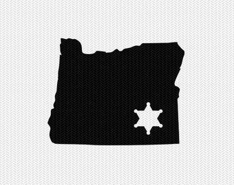oregon sheriff svg dxf file stencil instant download silhouette cameo cricut downloads clip art sheriff state svg dxf file