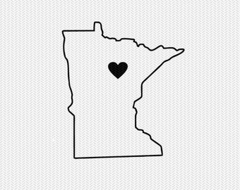 minnesota outline heart svg dxf file stencil silhouette cameo cricut clip art commercial use