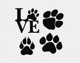 paw prints silhouette stencil svg dxf file instant download silhouette cameo cricut downloads clip art commercial use