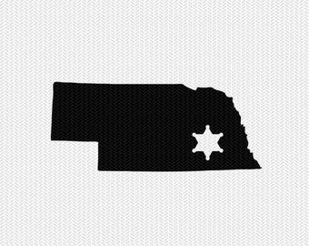 nebraska sheriff svg dxf file stencil instant download silhouette cameo cricut downloads clip art sheriff state svg dxf file