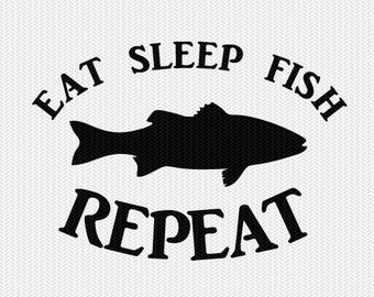 eat sleep fish svg dxf file instant download silhouette cameo cricut downloads clip art commercial use