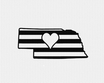 nebraska stripes heart svg dxf file download stencil silhouette cameo cricut downloads cut file downloads clip art commercial use