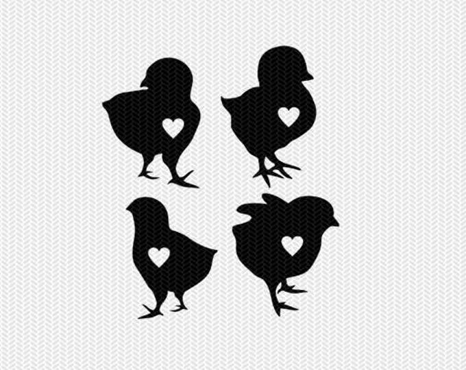 chicks heart svg dxf jpeg png file instant download stencil monogram frame silhouette cameo cricut clip art commercial use