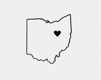 ohio outline heart svg dxf file stencil silhouette cameo cricut clip art commercial use