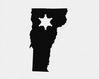 vermont sheriff svg dxf file stencil instant download silhouette cameo cricut downloads clip art sheriff state svg dxf file
