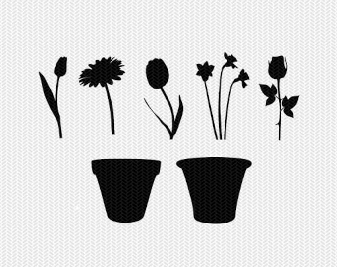 flowers spring summer gardening svg dxf file stencil silhouette cameo cricut downloads clip art commercial use