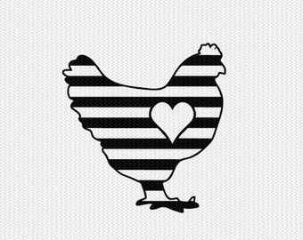chicken stripes heart svg dxf file instant download stencil silhouette cameo cricut downloads clip art commercial use