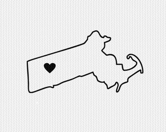 massachusetts outline heart svg dxf file stencil silhouette cameo cricut clip art commercial use